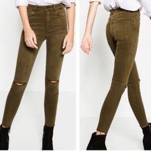 Zara Woman High Rise Olive Green Distressed Raw Hem Skinny Jeans